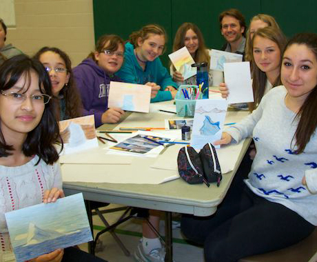The students were proud of their icebergs, and eager to pick Cory's brain for critiques! Image courtesy Cory Trépanier.