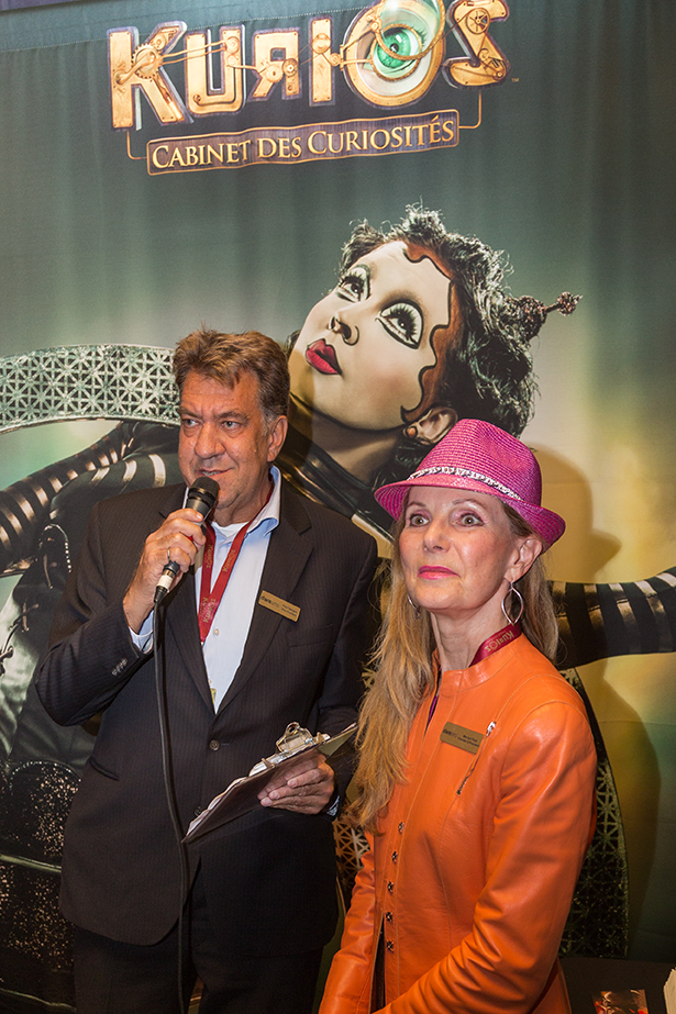 Paul Semple with DAREarts Founder & President Marilyn Field at DAREarts Cirque du Soleil Event