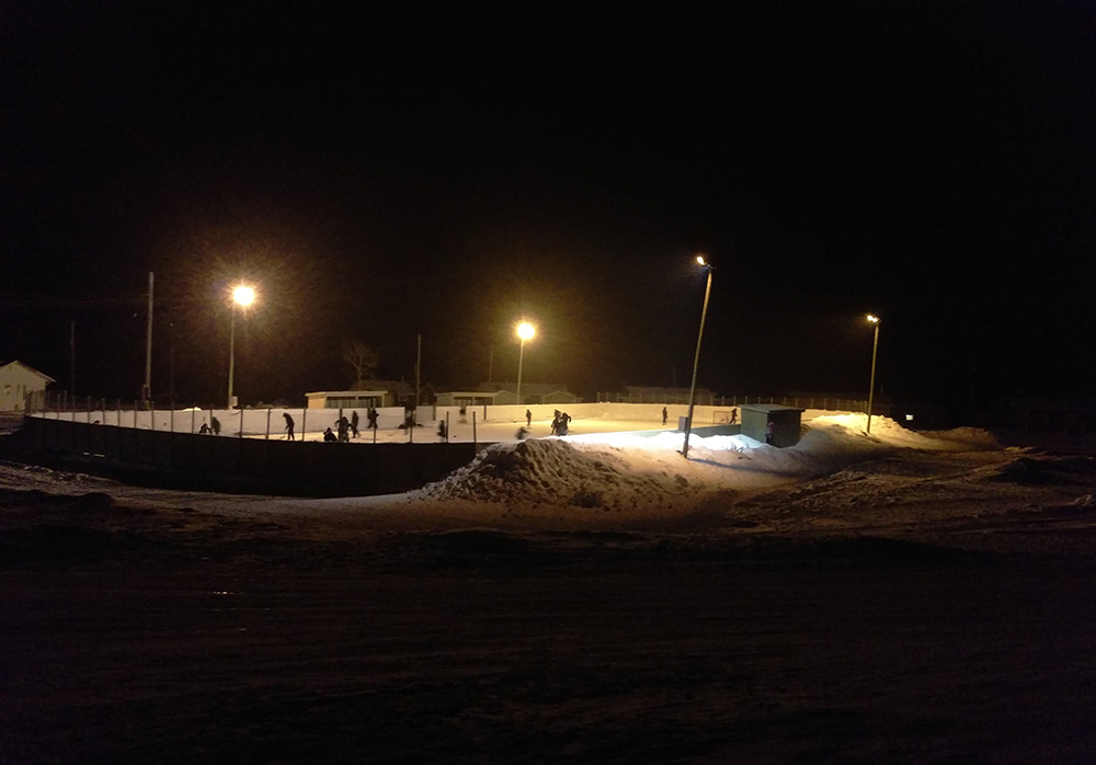 The outdoor rink is a magnet for kids in Webequie. Photo: Laura MacKinnon